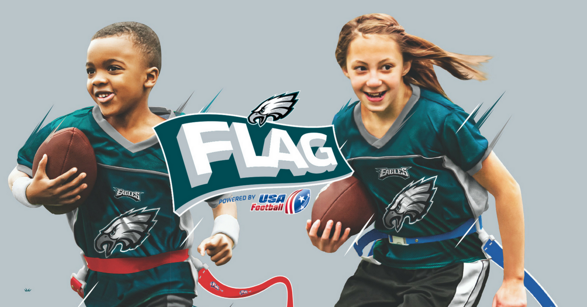 Children Playing Flag Football In Eagles Jerseys